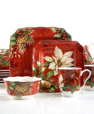 222 Fifth Dinnerware, Poinsettia Holly 16 Piece Set