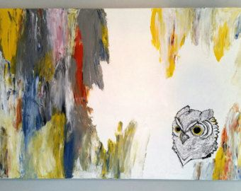 Colorful Owl Painting Abstract painting Bright Unique Painting Animal painting