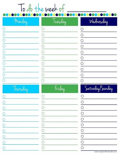 Free Printable To-Do Lists \u2013 Cute  Colorful Templates Pinterest