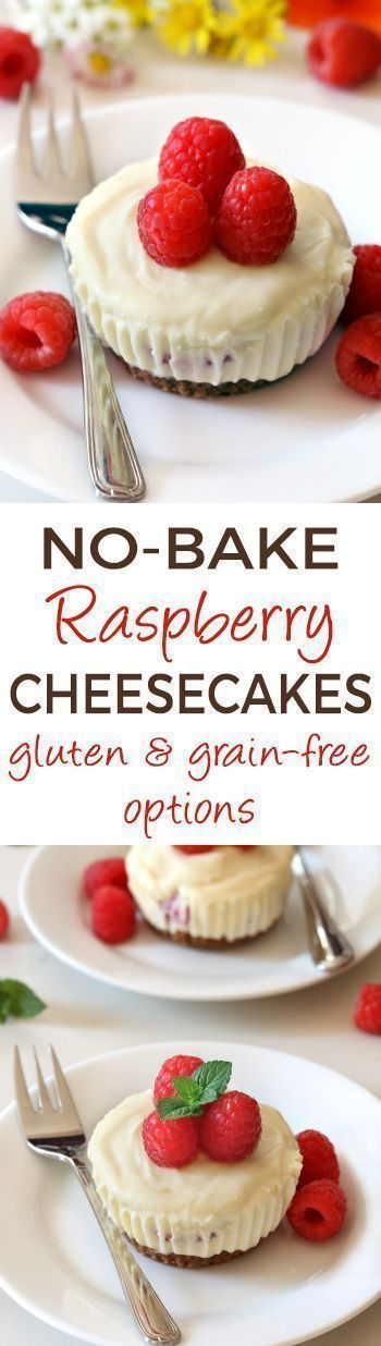 These no-bake mini raspberry cheesecakes feature a white chocolate cheesecake filling and a graham cracker crust. Included in the recipe are traditional, grain-free, gluten-free, and whole grain options for the crust. These no-bake mini raspberry cheesecakes feature a white chocolate cheesecake filling and a graham cracker crust. Included in the recipe are traditional, grai