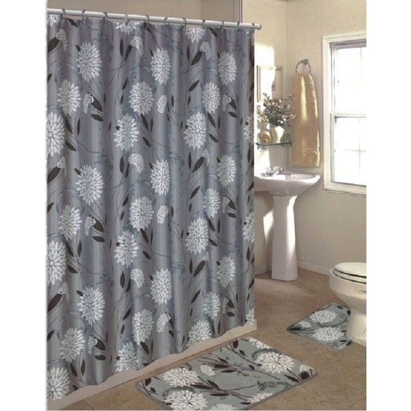 15 Piece Shower Curtain Set Color: Gray ($25) ❤ liked on Polyvore featuring home, bed & bath and bath