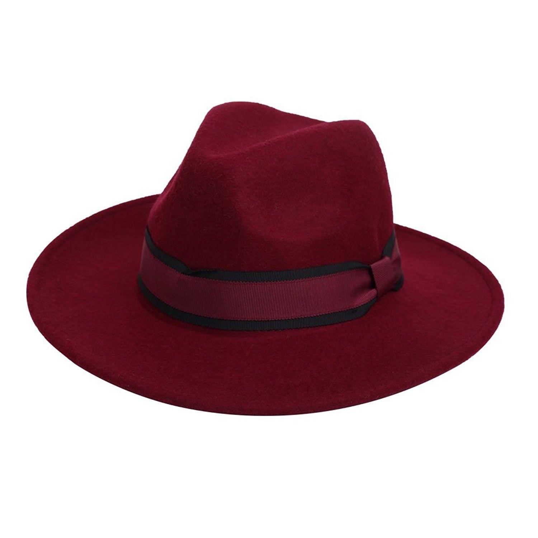 783ed6dc7e0d3e 100% Wool Fedora Hat Vintage Bowler Hats Wide Brim Hat for Women - Wine Red  - C31866W3QR0 - Hats & Caps, Women's Hats & Caps, Fedoras #hats #caps  #style ...