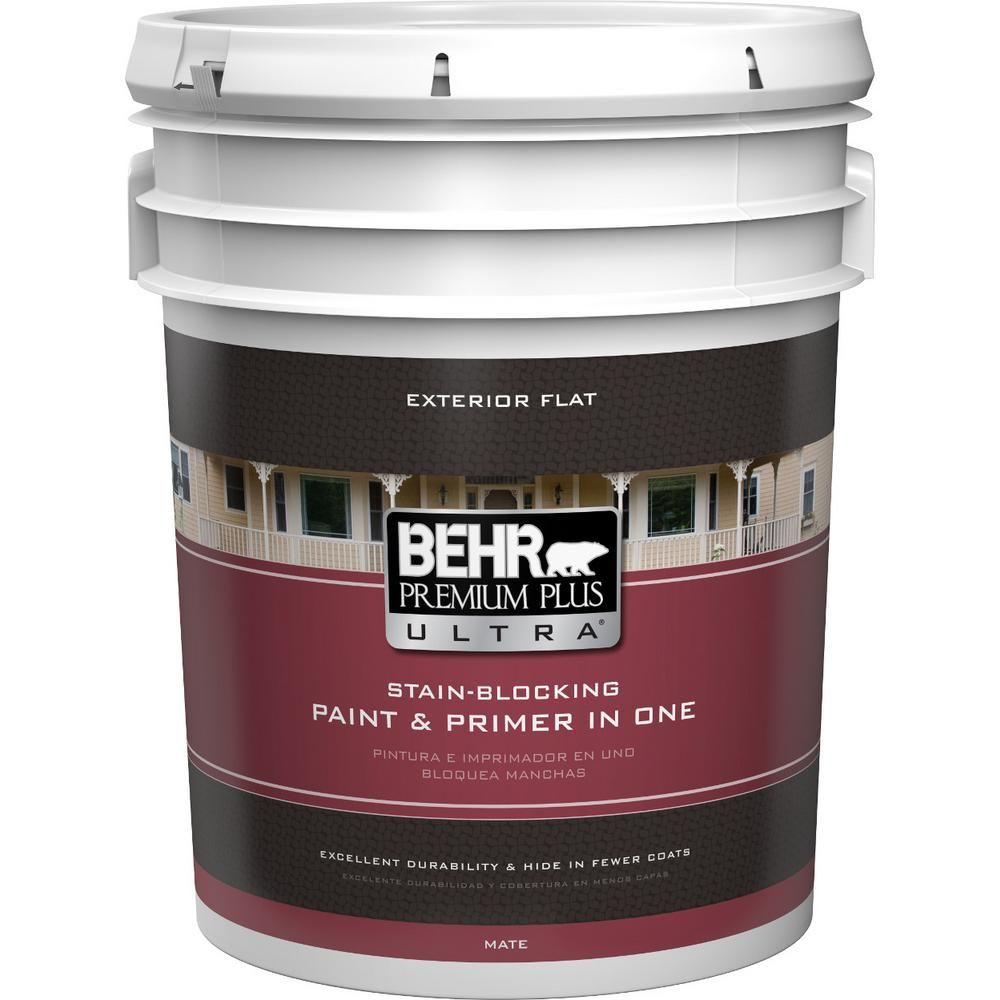 Behr Ultra 5 Gal Ultra Pure White Flat Exterior Paint And Primer In One 485005 Exterior Paint Pure Products Painting Aluminum Siding