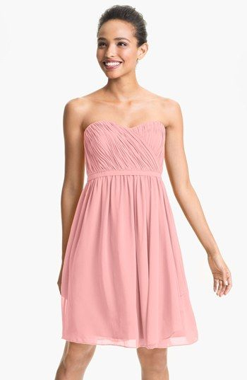 Donna Morgan 'Lindsey' Pleated Sweetheart Neckline Chiffon Dress available at #Nordstrom in blush, peach fuzz and spearmint