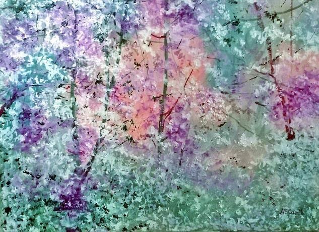 una primavera con caidas de petalos