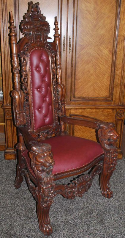 Lions Head King Chair Victorian Gothic Medieval Decor