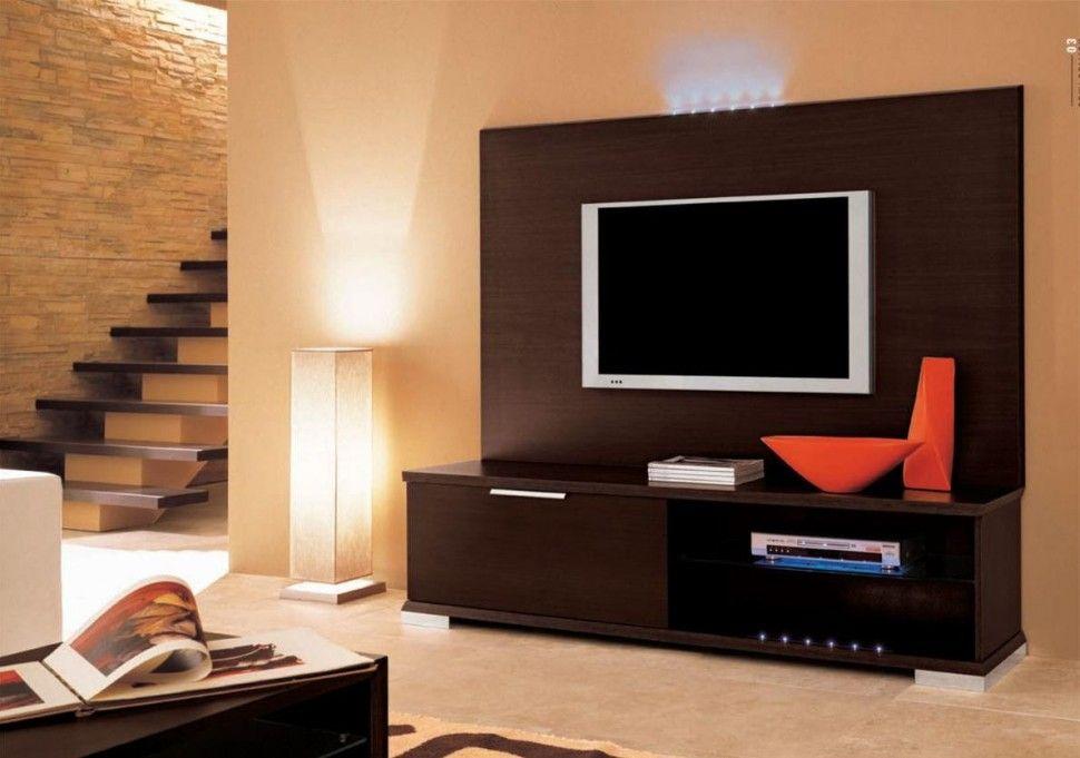 Meubles Salon Moderne Et Romantique Ligth Avec Brown Led Tv