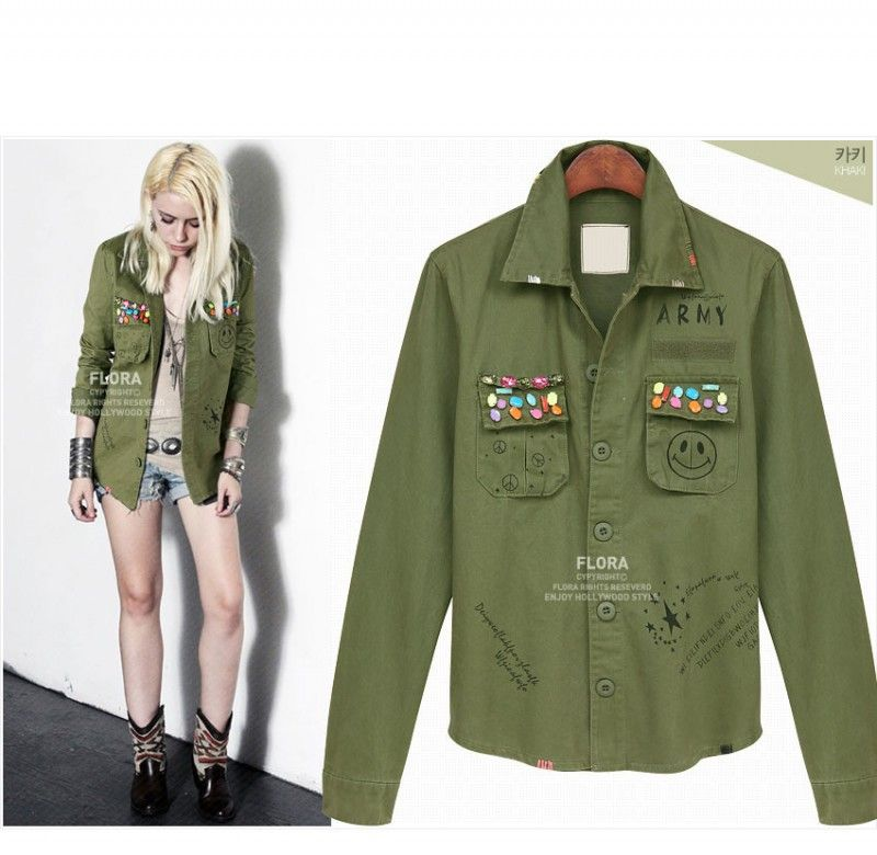 Army Green Military Jacket Women Cardigan Abrigos Mujer Fashion ...