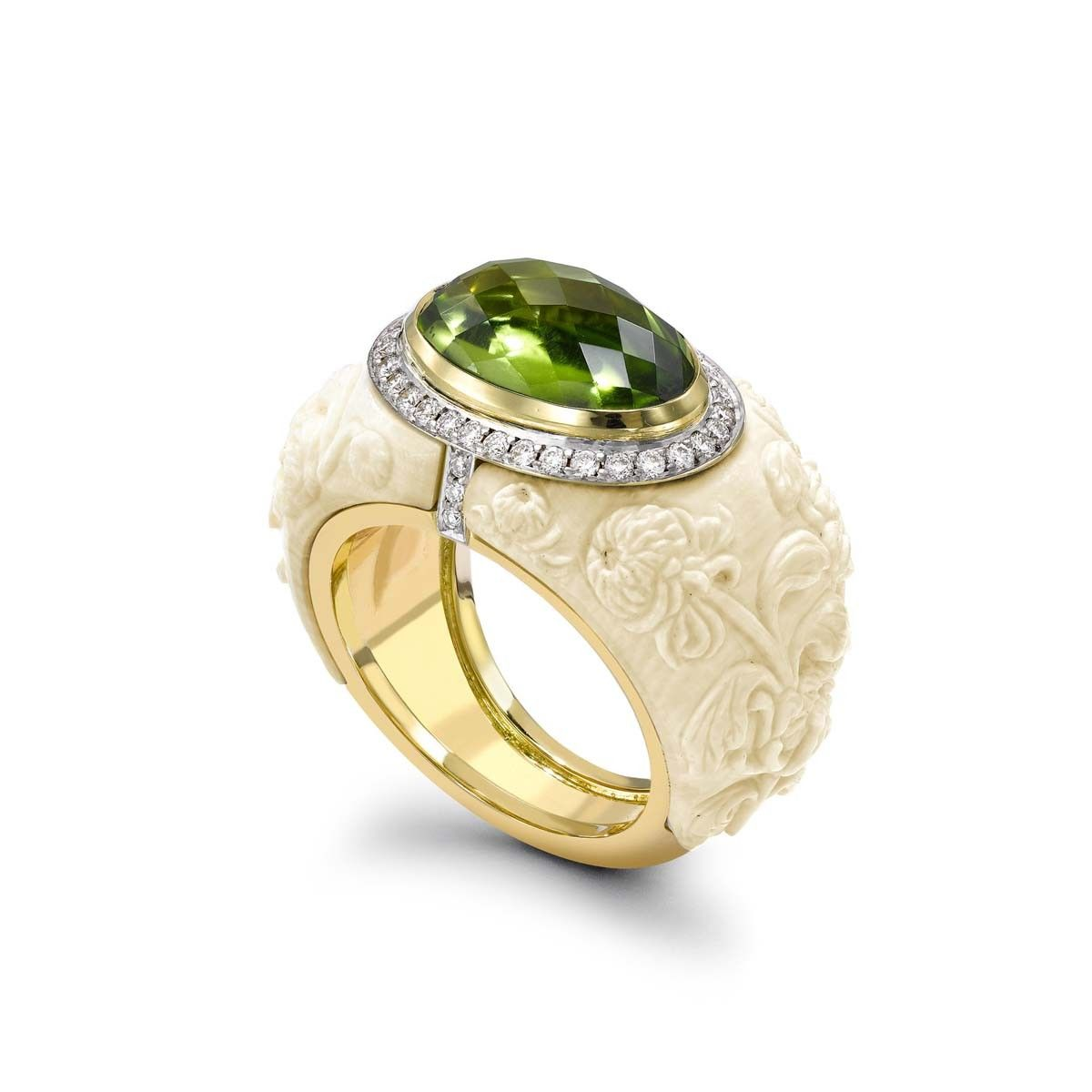Peridot & Carved Mammoth Ivory Ring in 18k yellow gold.