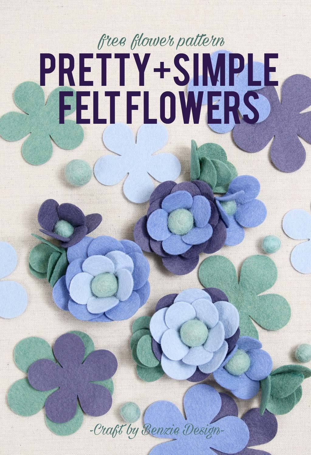 Simple Felt Flowers, Free Pattern!