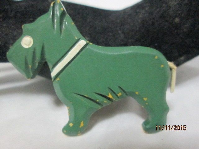 Vintage Bakelite Pin Carved Scotty dog enameled tested 2 inches  #bakelite