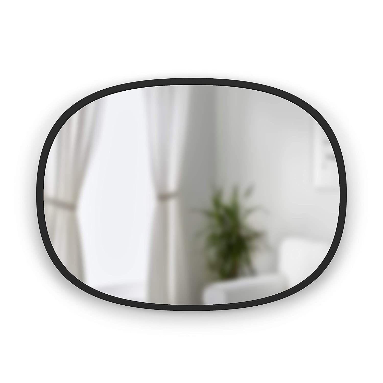 Amazon Com Umbra Hub Oval Wall Mirror 18 X 24 Inch Black Home Kitchen Mirror Wall Oval Wall Mirror Oval Mirror [ 1500 x 1500 Pixel ]