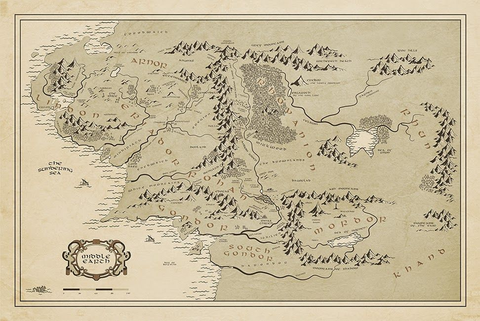 Middle Earth Map Print Lord Of The Rings Fan Art Customized