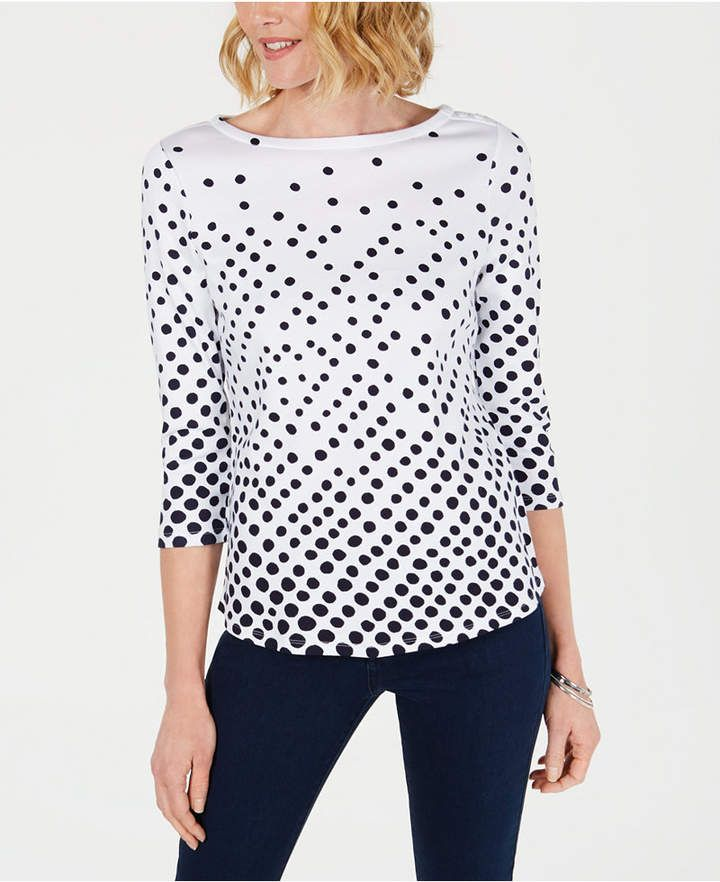 1986784b Petite Pima Cotton Button-Shoulder Print Top, Created for Macy's in ...
