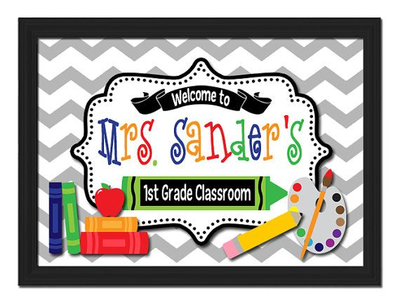 Custom Printable PDF File DIY Teacher Name Sign Colorful Welcome