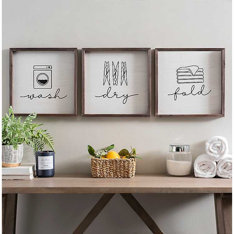 Wash Dry Fold Wall Plaques Set Of 3 From Kirkland S In 2020 Wash Dry Fold Laundry Room Art Bath Wall Art