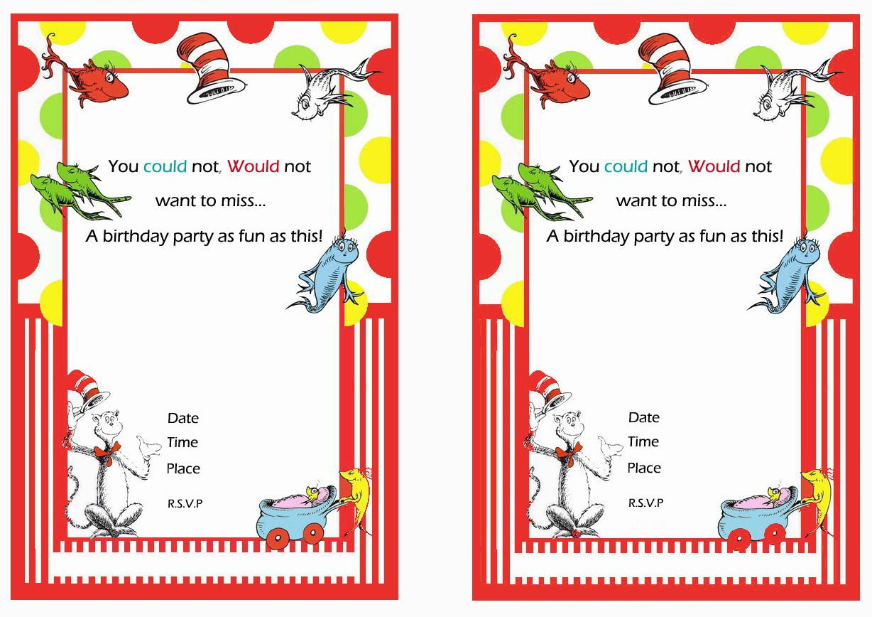 Dr. Seuss FREE Printable Birthday Party Invitations   Birthday Party ...