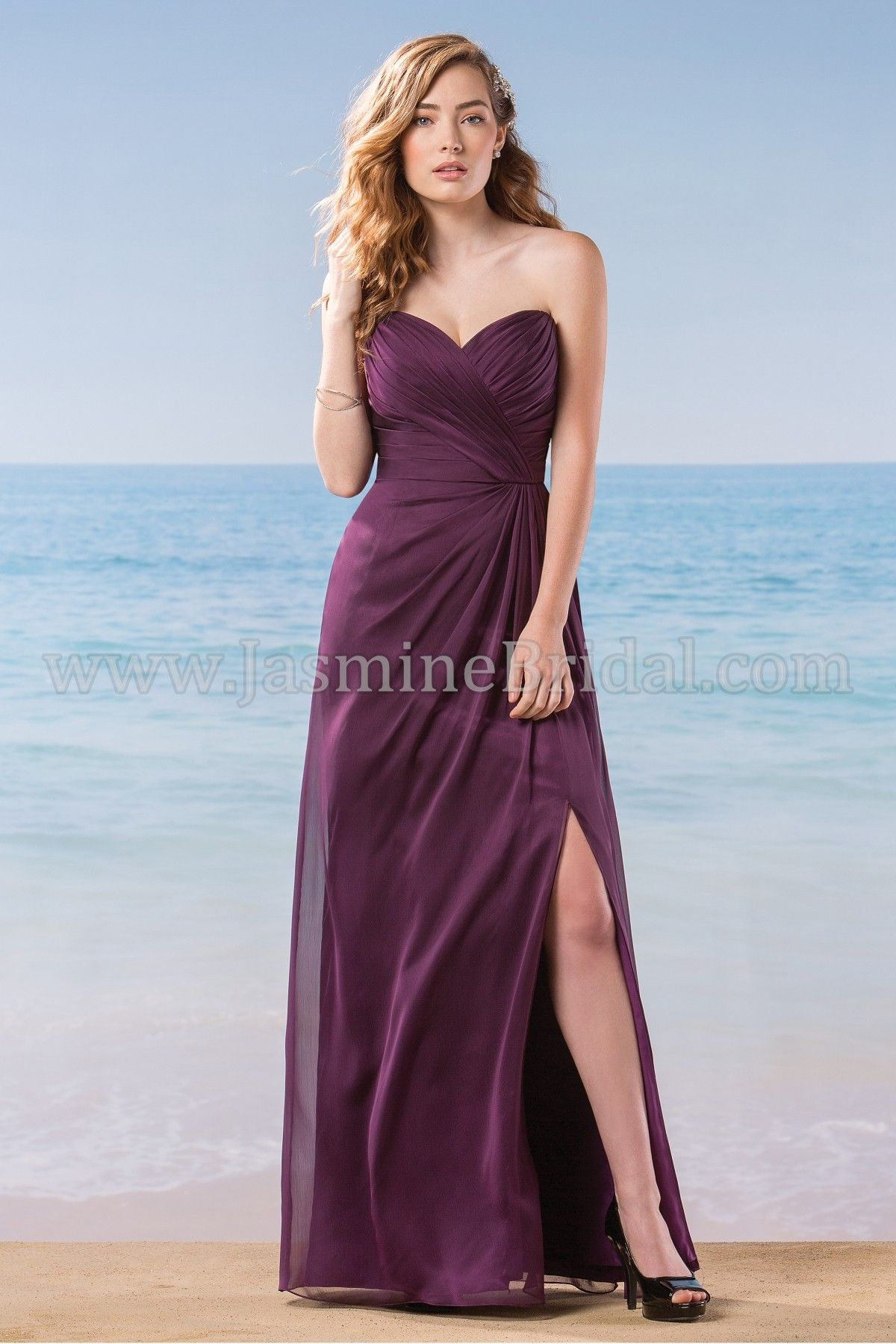 Jasmine Bridal Bridesmaid Dress Belsoie Style L184003 in Bordeaux ...
