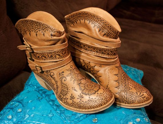 e7507d30c3ea1 MIA Outlaw leather boot pyrographed henna boots by NewWorldHenna ...