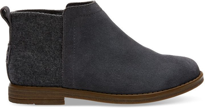 686df85605e Toms Forged Iron Grey Suede Wool Youth Deia Booties