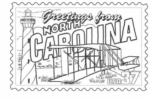 Nc Postcard Page With Images Coloring Pages North Carolina