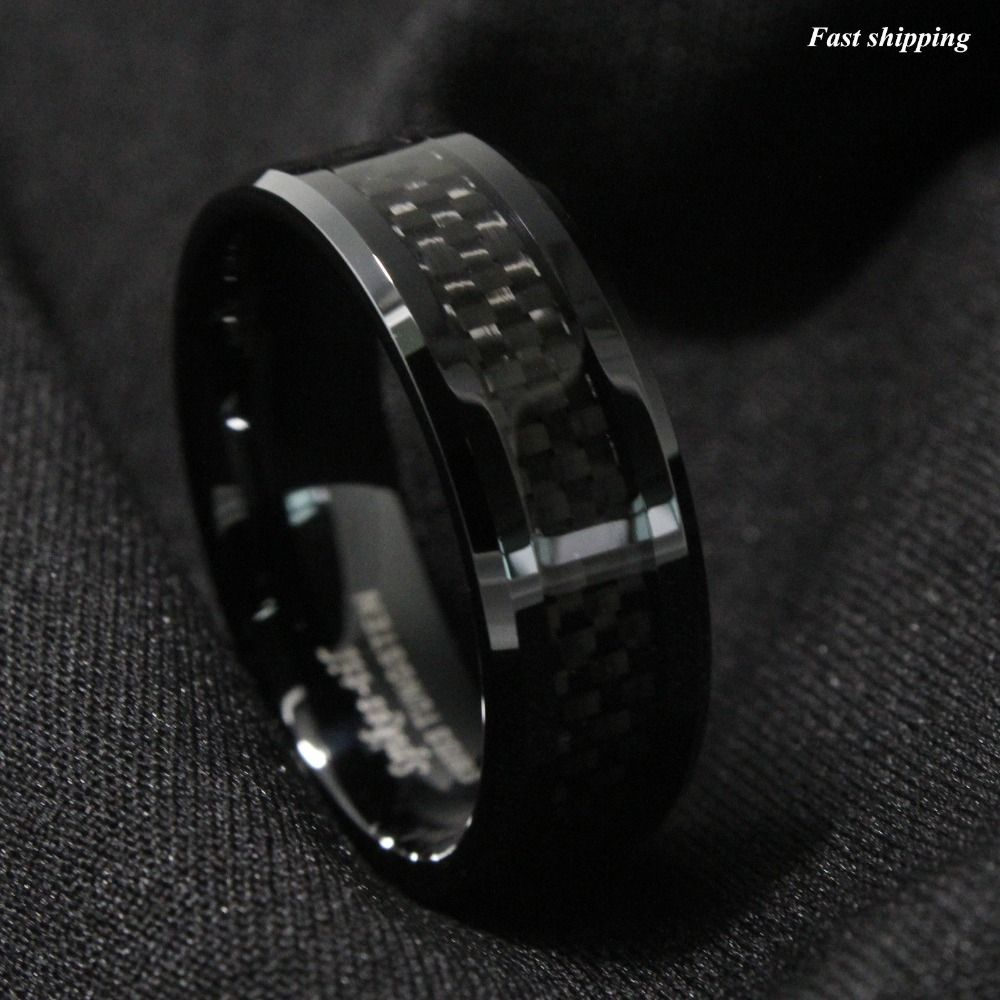 Mens jewelry Tungsten Ring with Carbon Fiber 8mm Black Wedding Band