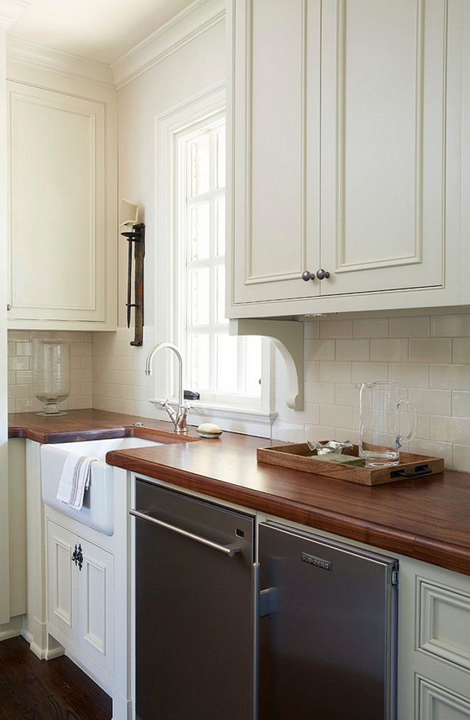 Butler S Pantry Features Small Farmhouse Sink Black Walnut Plank