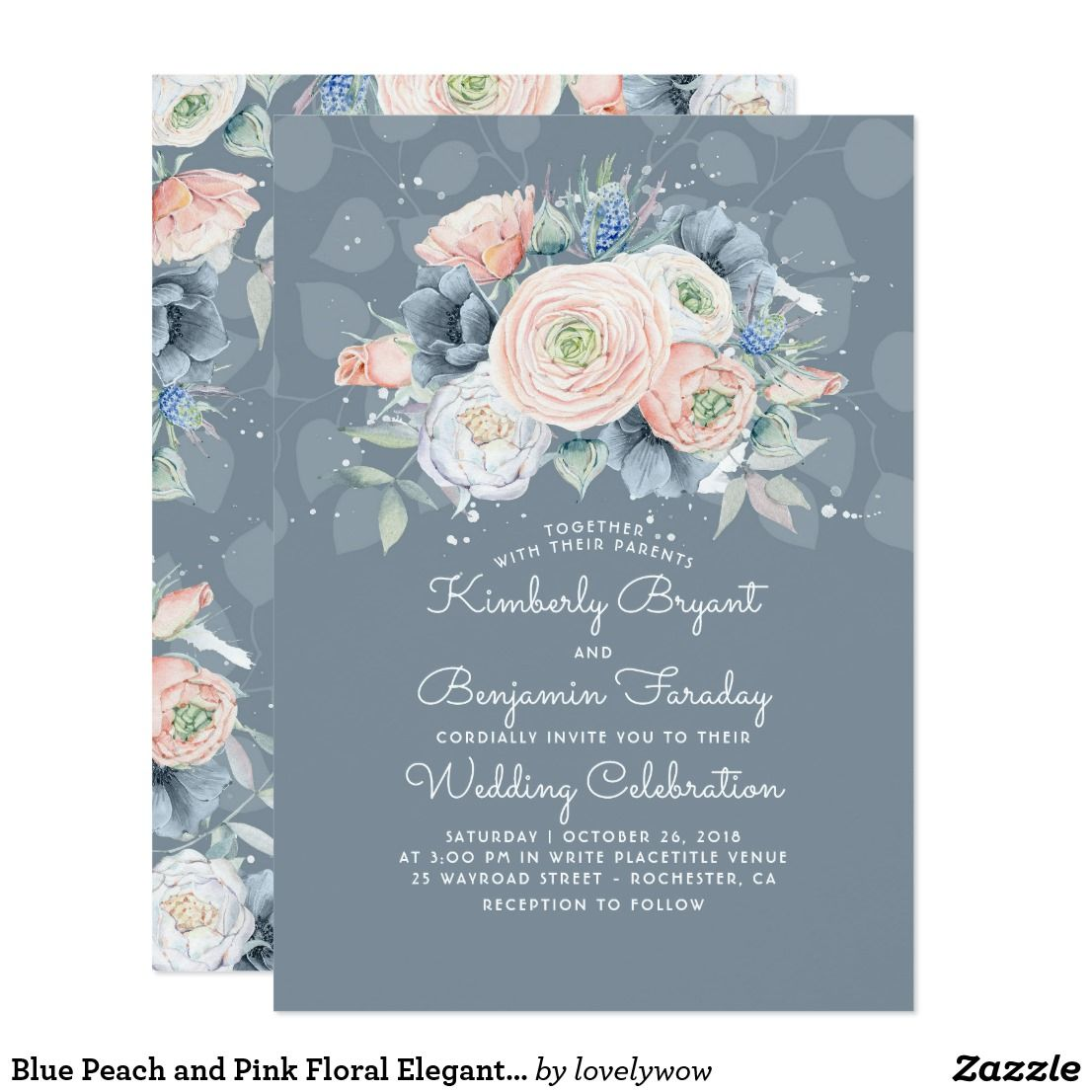 Blue peach and pink floral elegant wedding invitation in
