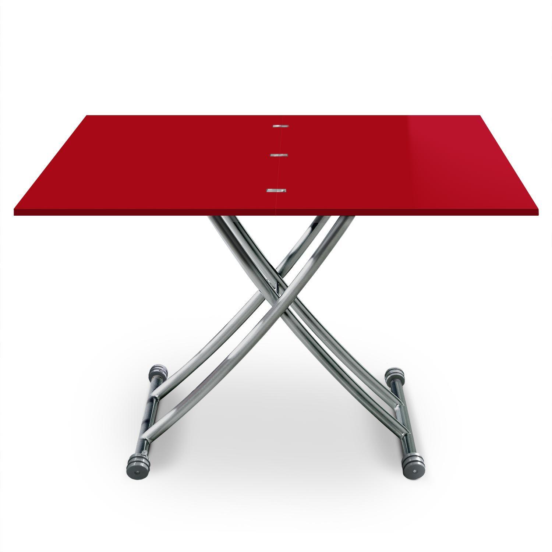 Table Basse Relevable Carrera Rouge Laque En 2020 Table Basse Relevable Table Basse Et Table Basse Transformable