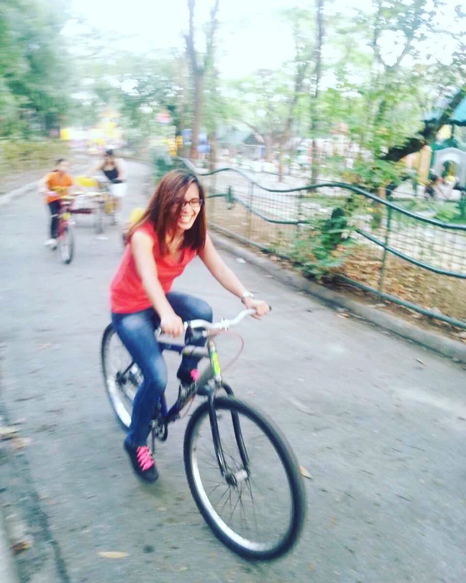 Rode a bike again after 10 years. Happy kiddo! Quezon City Memorial Circle