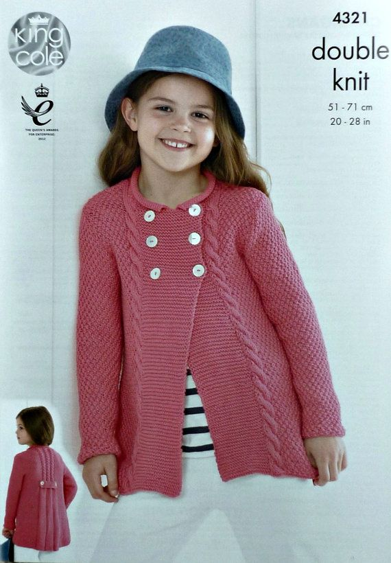 8b2fd171b559f2 Girls Knitting Pattern K4321 Girls Long Sleeve Double Breasted Jacket  Knitting Pattern DK (Light Worsted) King Cole