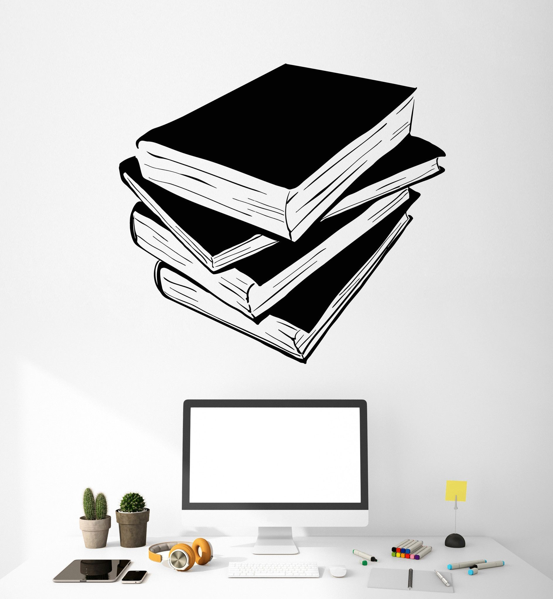 Vinyl Wall Decal Books Library Reading Room Decoration Stickers - Vinyl wall decals books