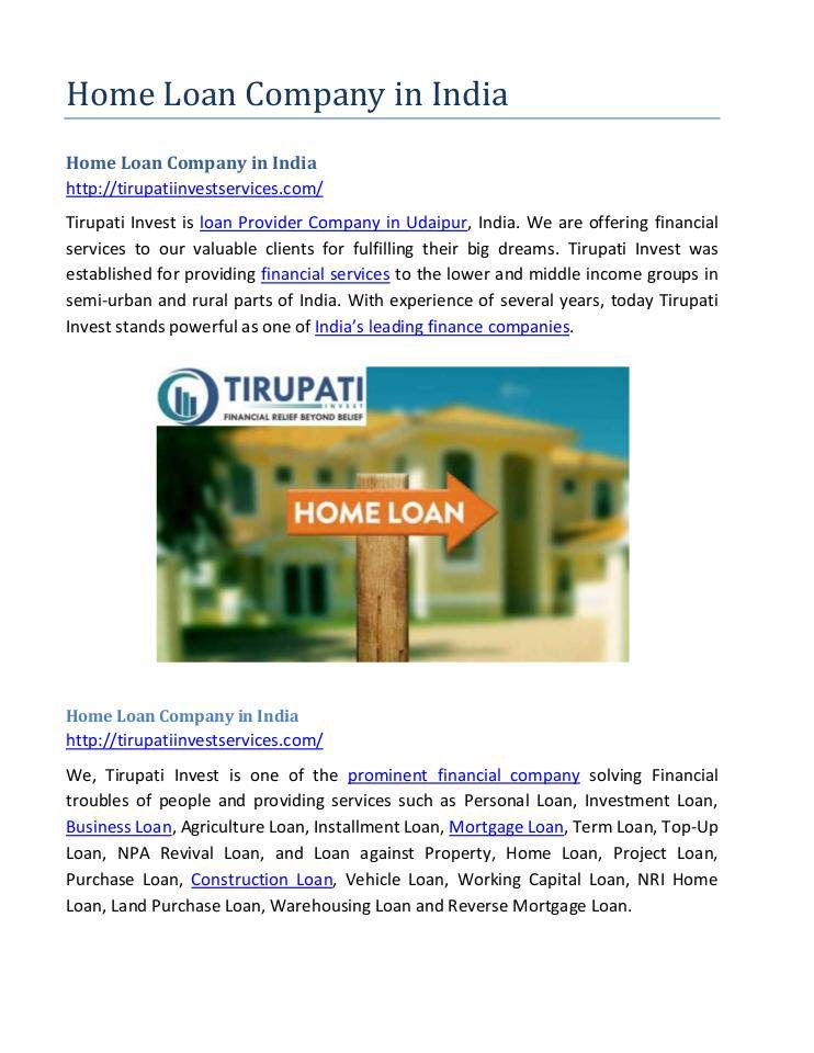 Pin By Tirupati Invest On Home Loan Company In India Loan Company Financial Organization Credit Agencies