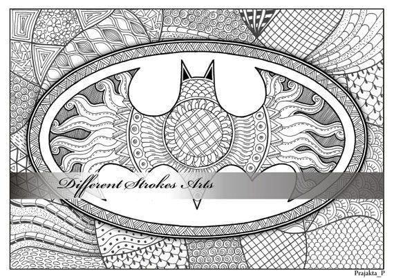 Superhéroe Batman para colorear toda la página llena de patrones ...