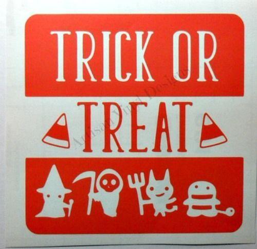 Trick Or Treat Halloween Vinyl Decal Glass Block Car Window Home - Halloween vinyl decals for glass blocks