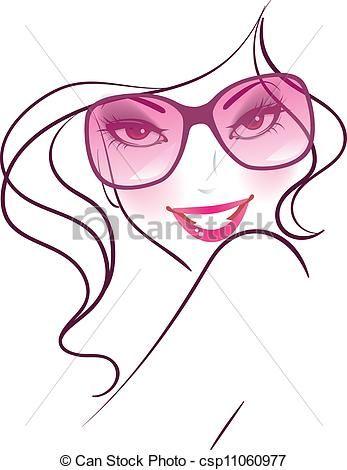 00f40fffba Vector - mujer con gafas de sol. | Art lady | Gafas de sol dibujo ...
