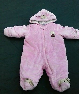 daad7b179 Nwt Little Wonders Baby Girls Bear Ear Pink Zip Up Snow Suit Warm 0 ...