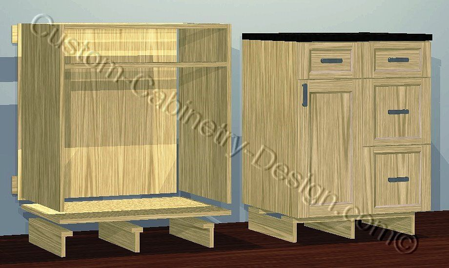 Frameless Base Cabinet Toe Kick Legs Options