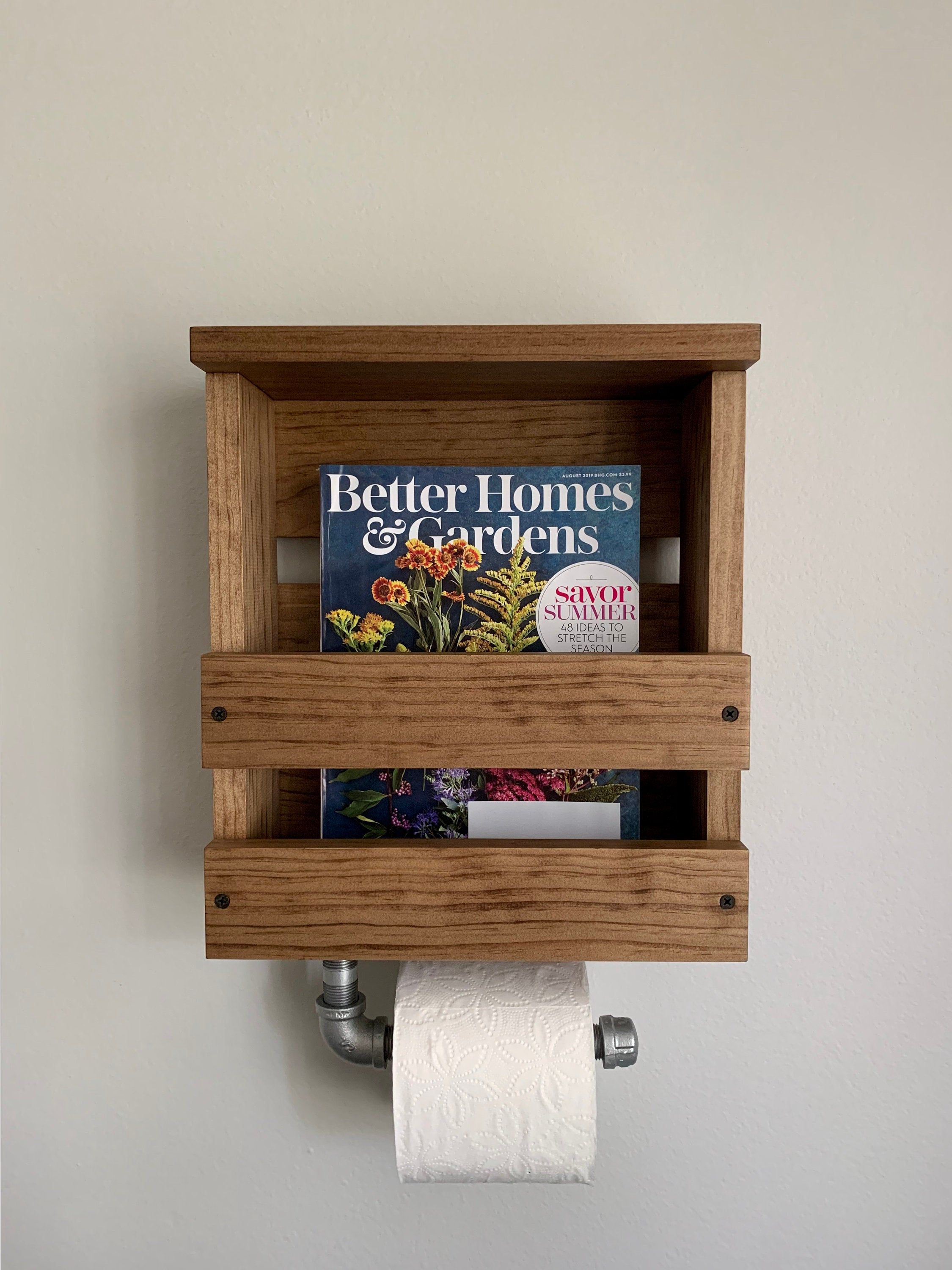 Magazine And Toilet Paper Holder With Shelf Industrial Toilet Paper Holder With Shelf Magazine Rack Wall Mounted Rack With Shelf Rustic Toilet Paper Holder Shelf Toilet Paper Holder Industrial Rustic Toilet