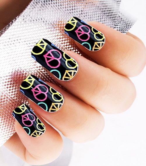 Colorful Black Peace Nails Colorful Nails Peace Nail Art Diy Nails