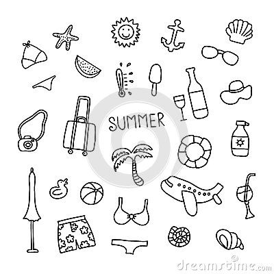 Set Of Vector Doodle Summer Icons With Images Summer Icon