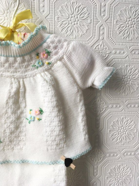 Photo of Baby Sweater Set, White and Pastel, Easter Outfit or Photo Shoot, Christening, Knit in Soft Itch-Fre