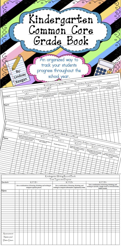 Kindergarten Common Core Grade Book Now Editable Common Core Kindergarten Common Core Grade Book Teaching Common Core