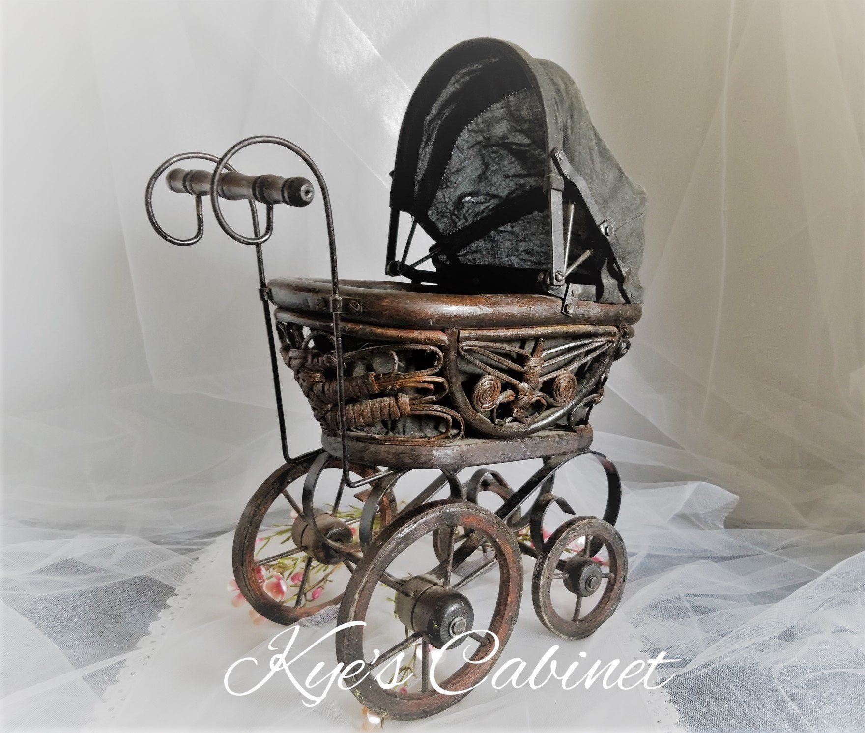 Victorian Style Doll Carriage, Doll Pram Walker, Antique