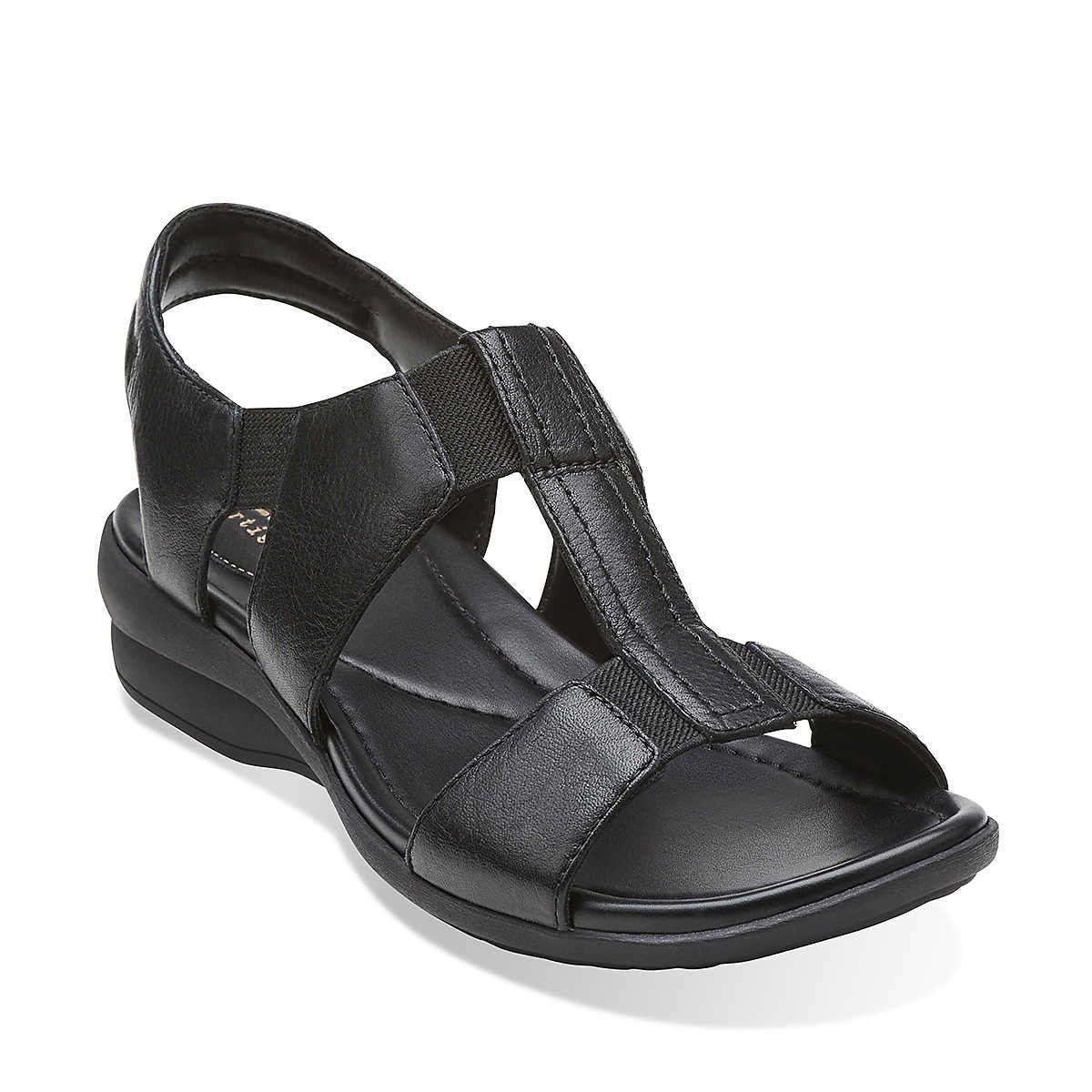 Womens Sandals Clarks Reid Delmar Black Leather
