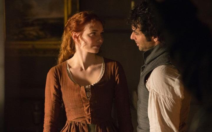 Eleanor Tomlinson and Aidan Turner as Demelza and Ross Poldark