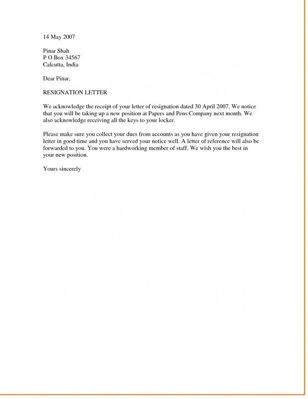 Template Resignation Letter   template   Resignation letter