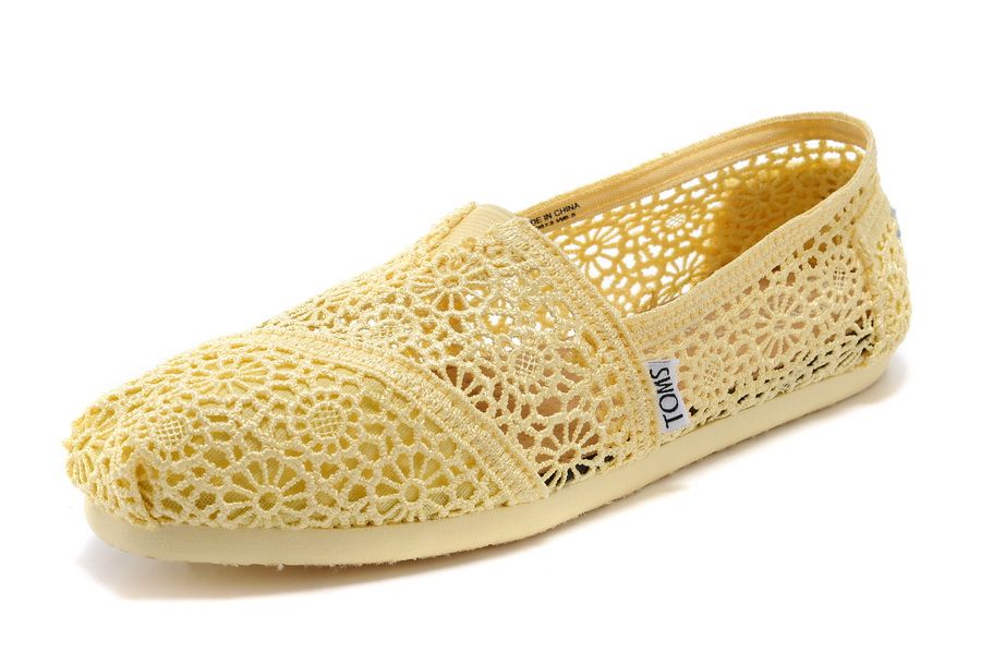 Toms Womens Lace Crochet Shoes Yellow ...  f4f6529a4