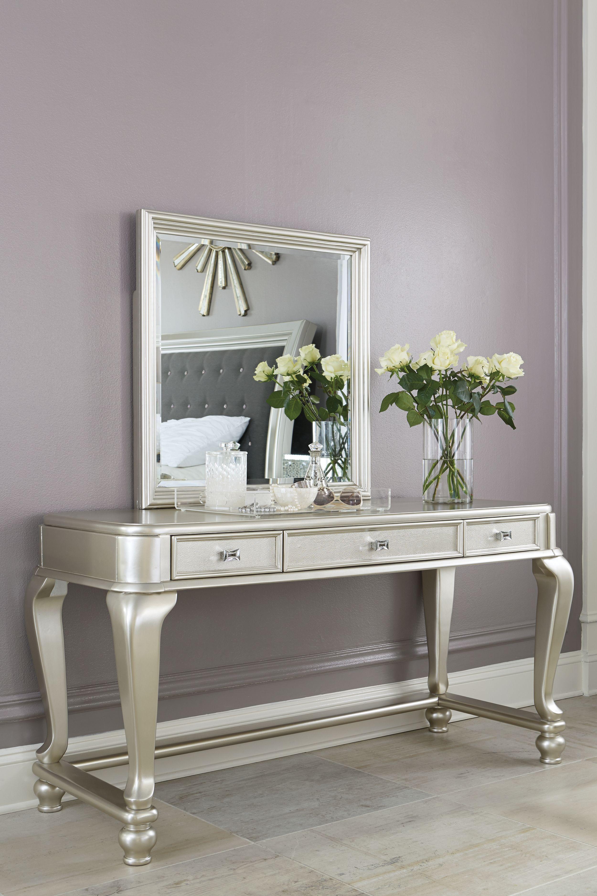 Coralayne Vanity and Mirror, Gray Silver vanity, Bedroom