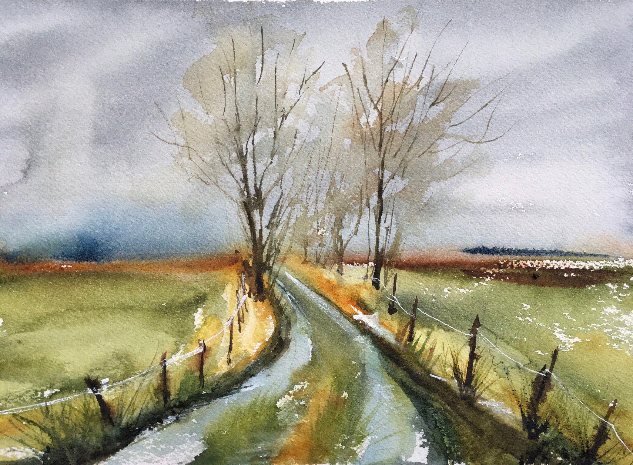 Aquarelle Peinture Originale La Route Un Soir D Automne Brumeux